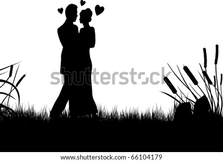 silhouette of a young couple  black and white - stock vector