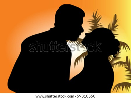 Silhouette of a young couple kissing at the beach with the sun - stock vector