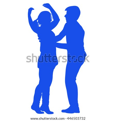 Silhouette of a young couple performing a dance - blue - stock vector