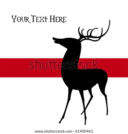 Silhouette of a young deer against a red stripe over a white background, vector, illustration.  This graphic is perfect for holiday-themed projects. - stock vector
