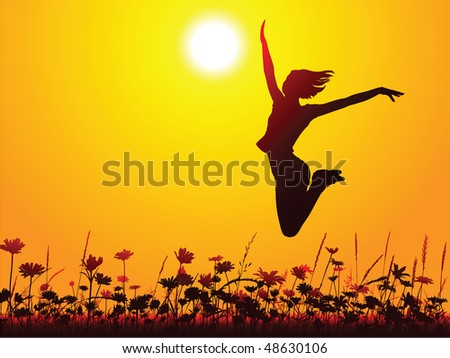 Silhouette of a young girl jumping on the meadow - stock vector