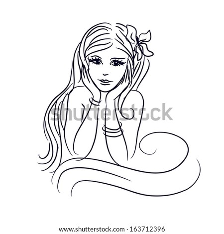 silhouette of a young girl with long hair. vector illustration - stock vector