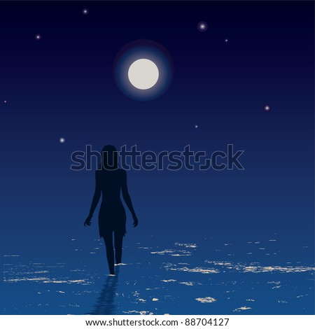 Silhouette of a young woman walking in the sea at night - stock vector