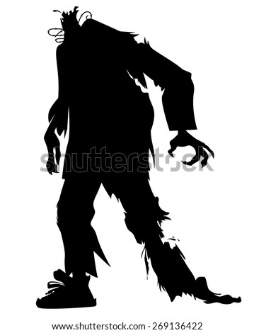 silhouette of a zombie without a head - stock vector