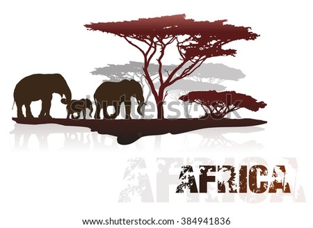 Silhouette of Africa trees and elephants, isolated on white - stock vector