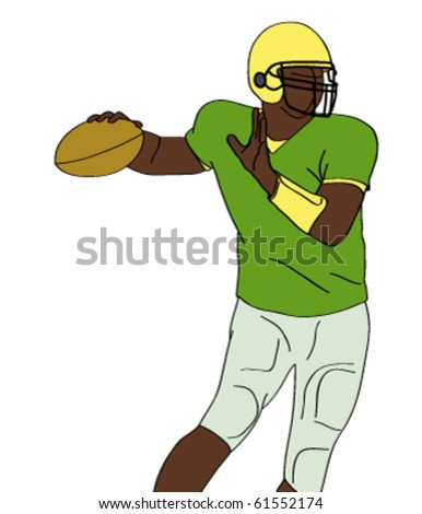 silhouette of american football player - vector