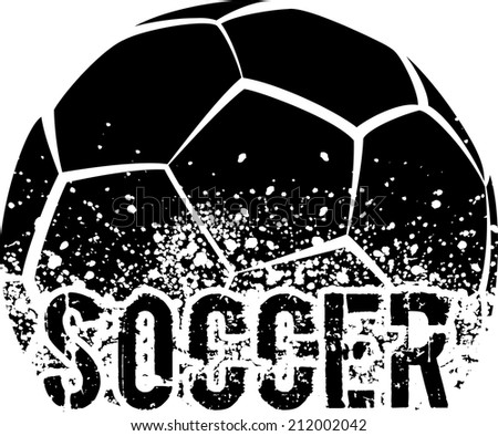 silhouette of an a soccer ball with dirt splatter and a grunge typeface of the word soccer. - stock vector