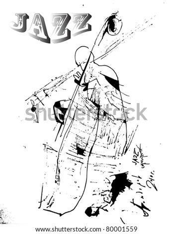 Silhouette of an acoustic jazz bass player - stock vector