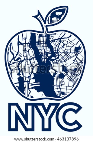 Silhouette of an apple filled map of New York ,New York landmark. American symbol.  vector.