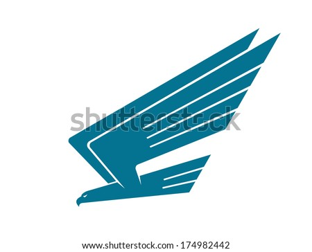 Silhouette of an eagle logo in flight swooping down upon its prey with raised wings, isolated on white - stock vector