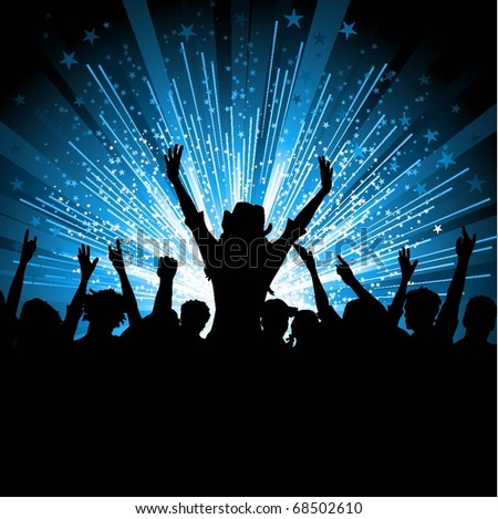 Silhouette of an excited crowd on a starburst background - stock vector