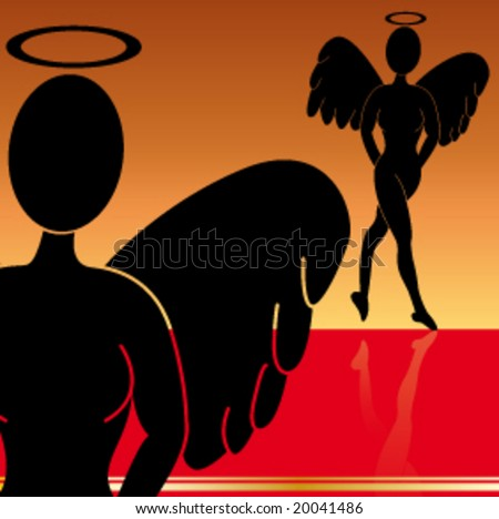 Silhouette of an female Angel with Wings - stock vector