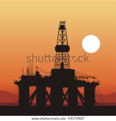 silhouette of an oil drilling rig. Coast of Brazil - stock vector