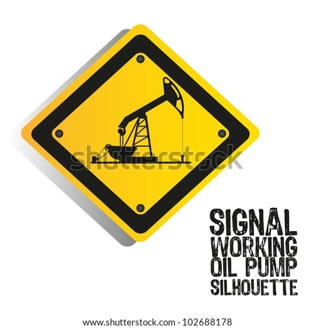silhouette of an oil pump on a sign, vector illustration