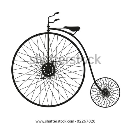 Silhouette of an old bicycle - stock vector