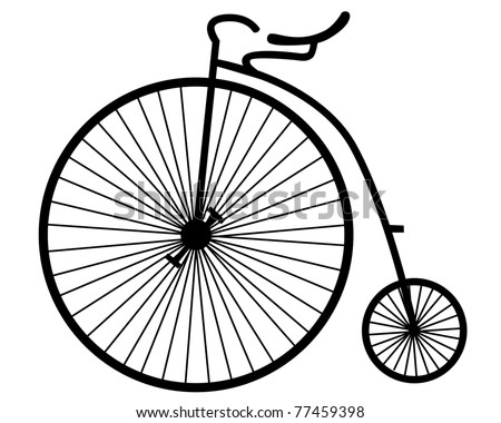 silhouette of an old bicycle on white background - stock vector