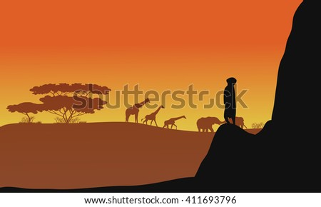 Silhouette of animals africa in the hills - stock vector