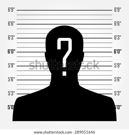 Silhouette of  anonymous man with question mark in mugshot or police lineup background - stock vector