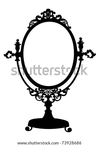 Silhouette of antique makeup mirror - stock vector