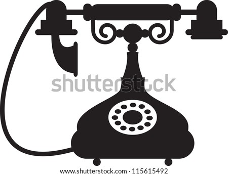 Silhouette of antique telephone - stock vector