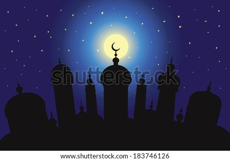 Silhouette of Arabic city with character Islam buildings at night - stock vector