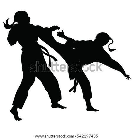 Silhouette Athletes Involved Martial Arts Sparring Stock ...