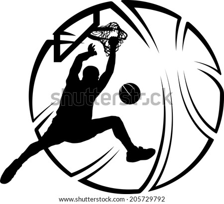 Silhouette of basketball dunk with a stylized basketball. - stock vector