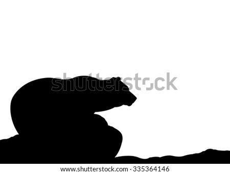 Silhouette of Bear looking forward. Isolated on white background - stock vector