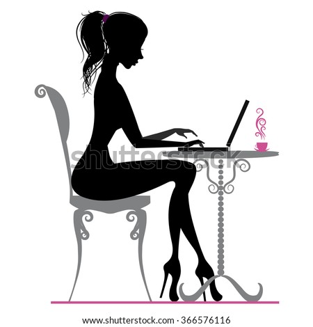 Silhouette of beautiful girl with laptop - stock vector