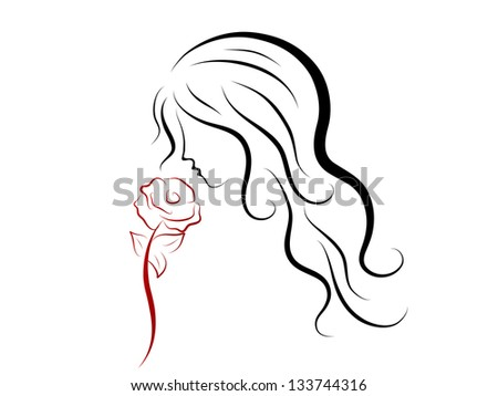 Silhouette of beautiful woman with red rose - stock vector