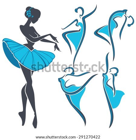 silhouette of beauty ballet dancer, vector collection - stock vector