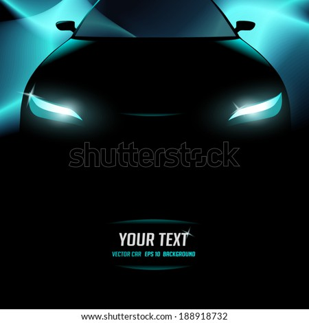 Silhouette of black car with lighted background - stock vector
