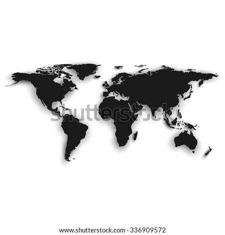 Silhouette of black world map, vector illustration. - stock vector