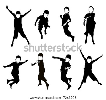 Silhouette of boy's jumping.