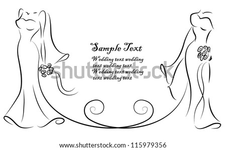 Silhouette of brides, background, wedding invitation, the vector - stock vector