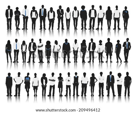 Silhouette of Business and Casual People - stock vector