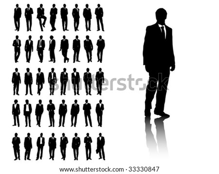 Silhouette of 40 Businessmen