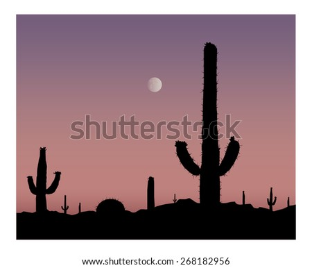 Silhouette of cactuses on the background of desert. Violet sky and moon. Eps 10. - stock vector