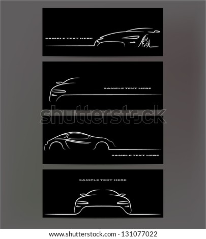 Silhouette of car on black background. Vector illustration - stock vector