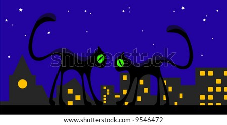 silhouette of cats and town