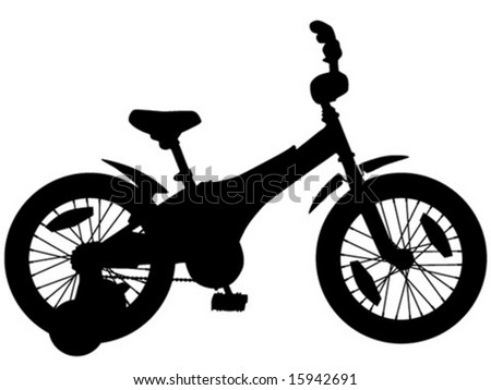 silhouette of child's four-wheel bike