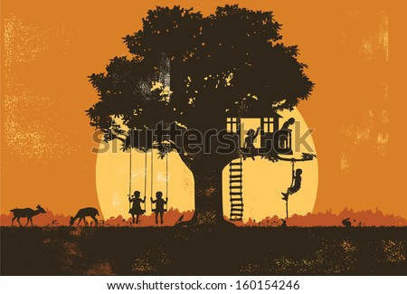 Silhouette of children playing at sunset, vector - stock vector