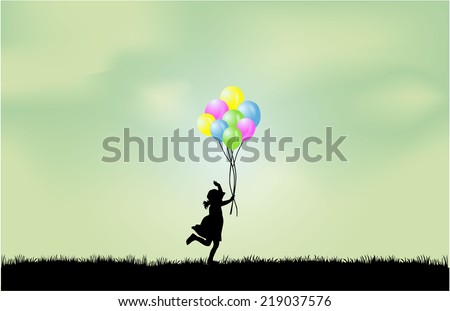Silhouette of children with balloon. - stock vector