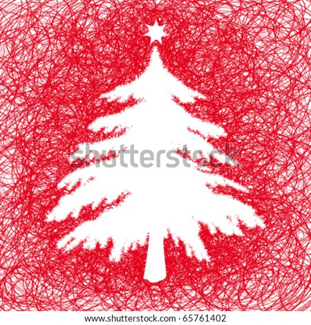 Silhouette of Christmas tree - stock vector