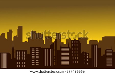 Silhouette of city at the moon