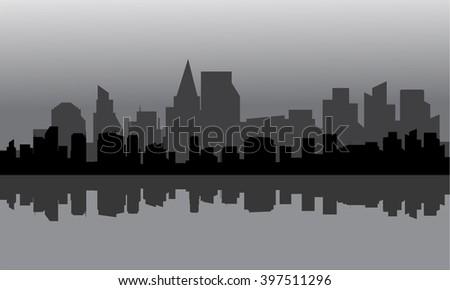 Silhouette of city full buildings - stock vector