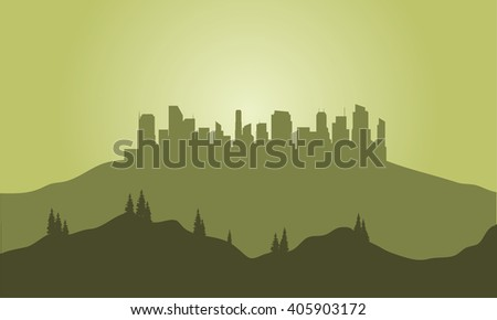 Silhouette of city on the hills with green background - stock vector
