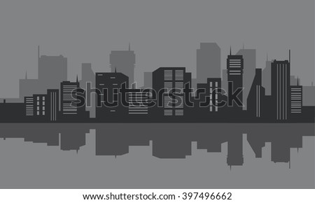 Silhouette of city seafront