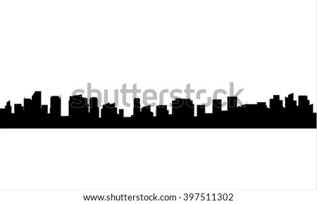Silhouette of city with black color - stock vector