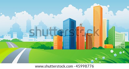 Silhouette of colorful city. Panorama of city with road on landscape background. Vector illustration art. - stock vector